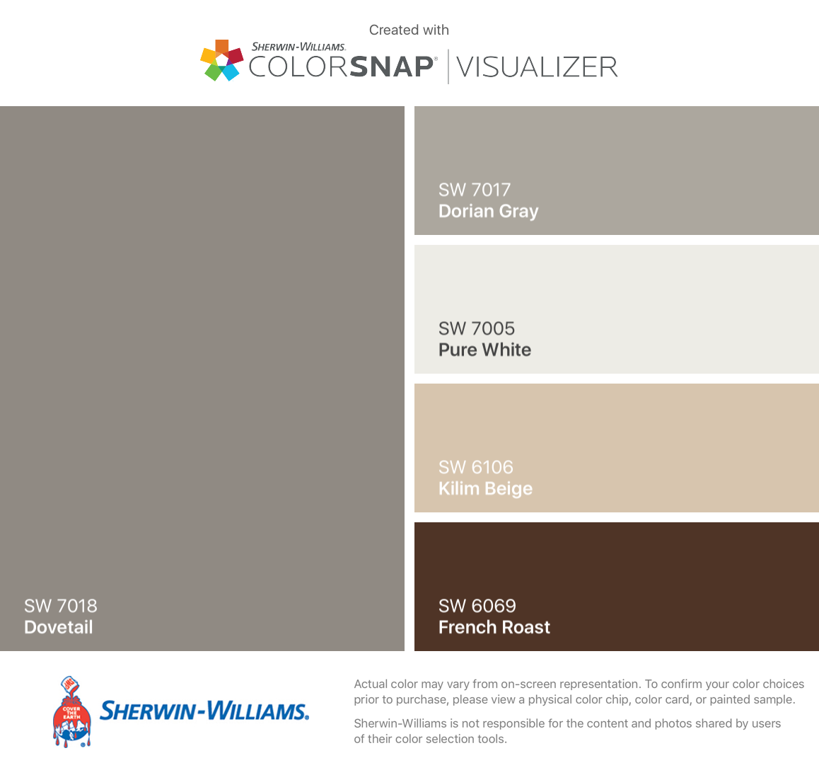 7018 dovetail sherwin williams - I Found These Colors With Colorsnap Visualizer For Iphone By Sherwin Williams Dovetail