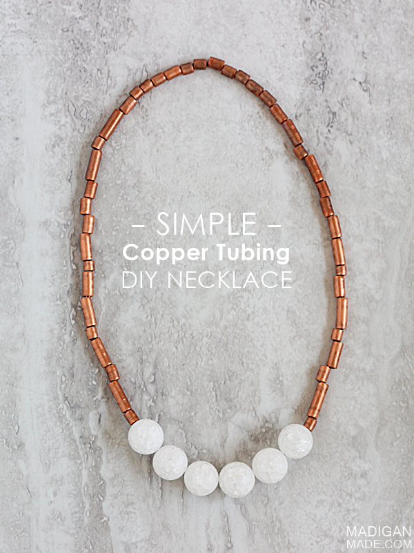 Super simple (and stunning!) DIY necklace made with copper tubing from the hardware store