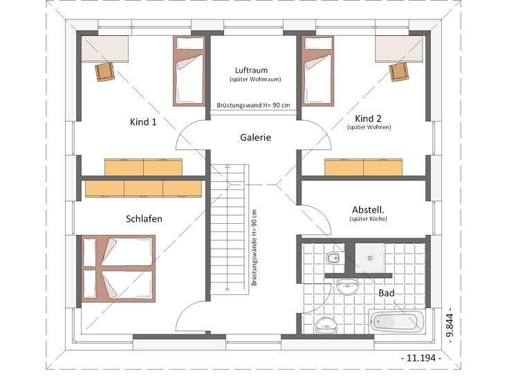 Grundriss beispiel kubus 160qm mit luftraum und - Architektur plan ...