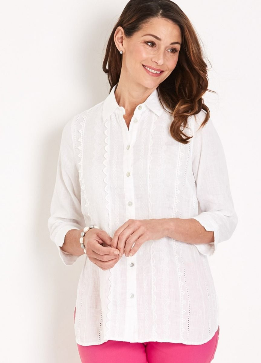 Maggie T 34 Trim Embroidered Linen Shirt | Plus size