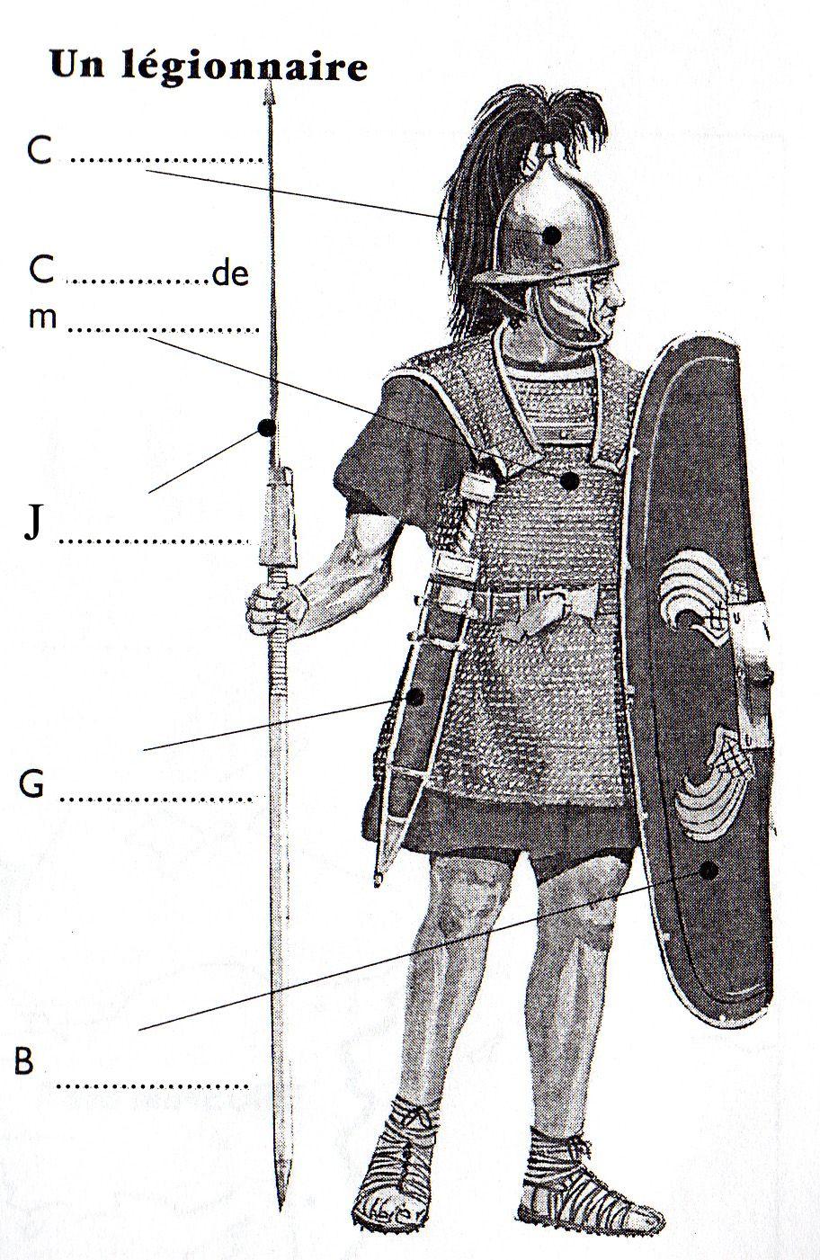 Schéma à compléter de l'armement d'un légionnaire