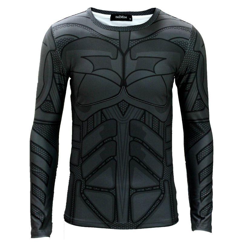 New Adult Batman Costume T-shirt Long Sleeve Fit Top Marvel DC Comics  Cosplay 9cd58aee3