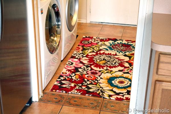 Fun bright rug in Laundry room!  Only $34.00