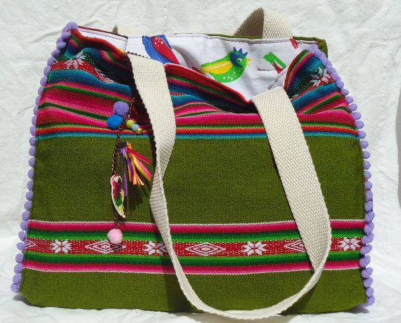 Mexican Blanket Aguayo Reversible Bag by SouthernTrunk on Etsy, $39.00