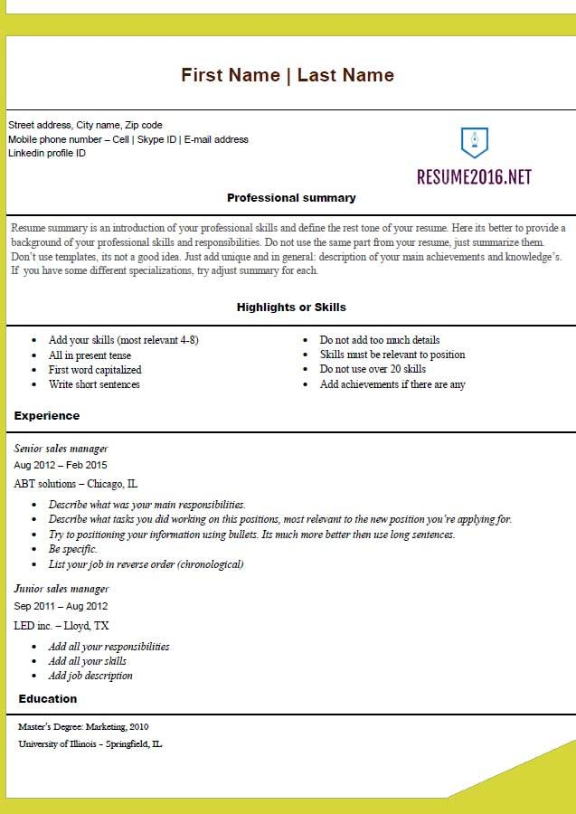 free resume template 2016 gandaaa Pinterest Free - resume job summary