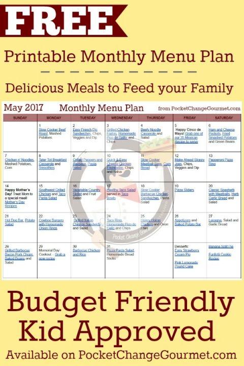 MONTHLY MENU PLAN -- FREE Printable menu\u0027s Pinterest Monthly