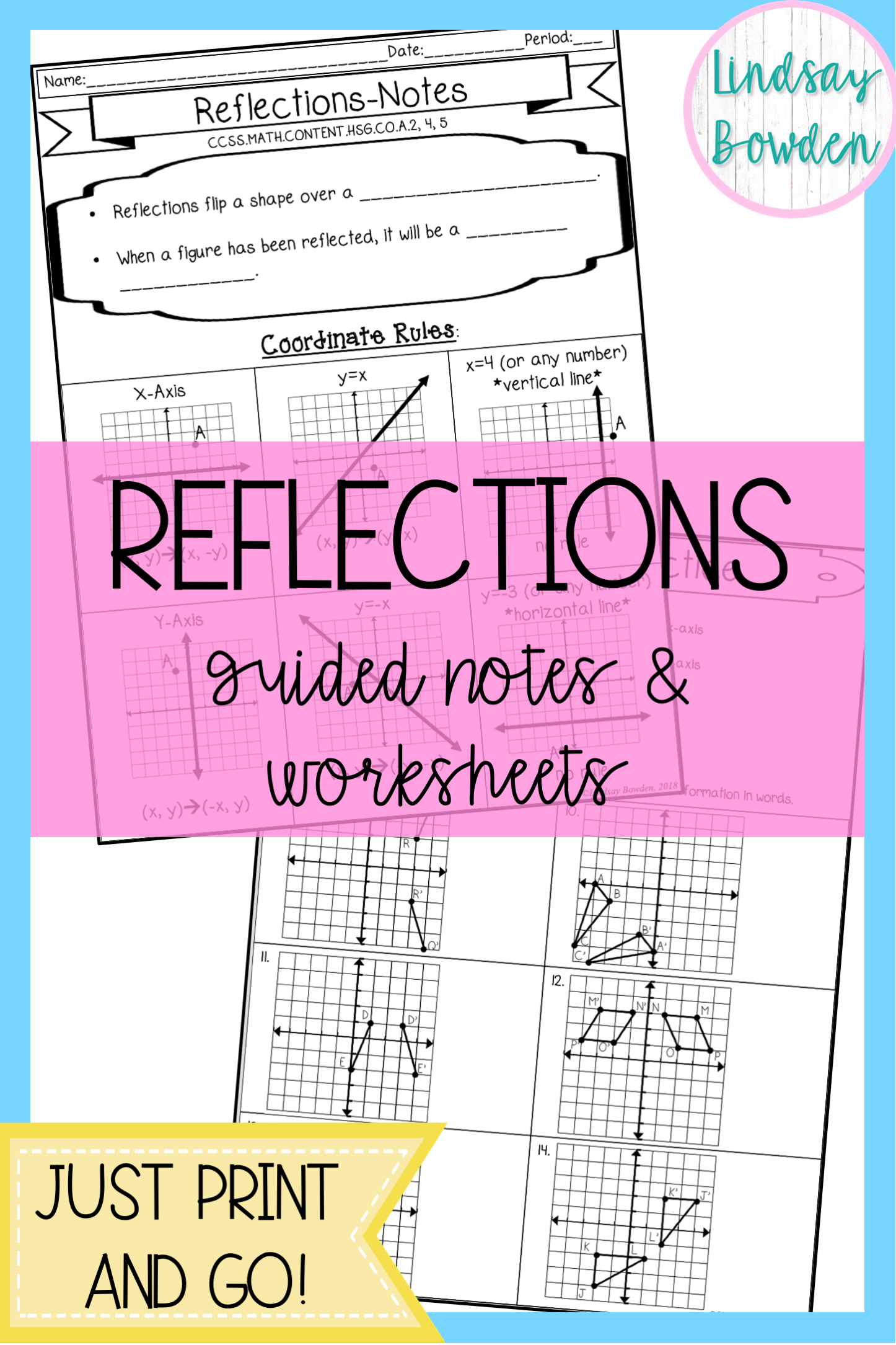 Reflections Notes And Worksheets For High School Geometry Guided Notes And Practice Sheets To H High School Geometry Notes Geometry Lessons College Math Notes