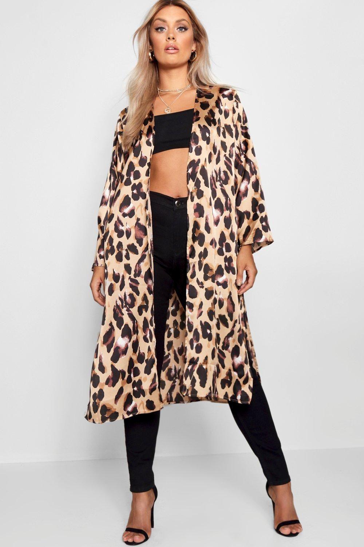 cb1c97f3dc21fe Plus Lissy Leopard Print Satin Kimono in 2019