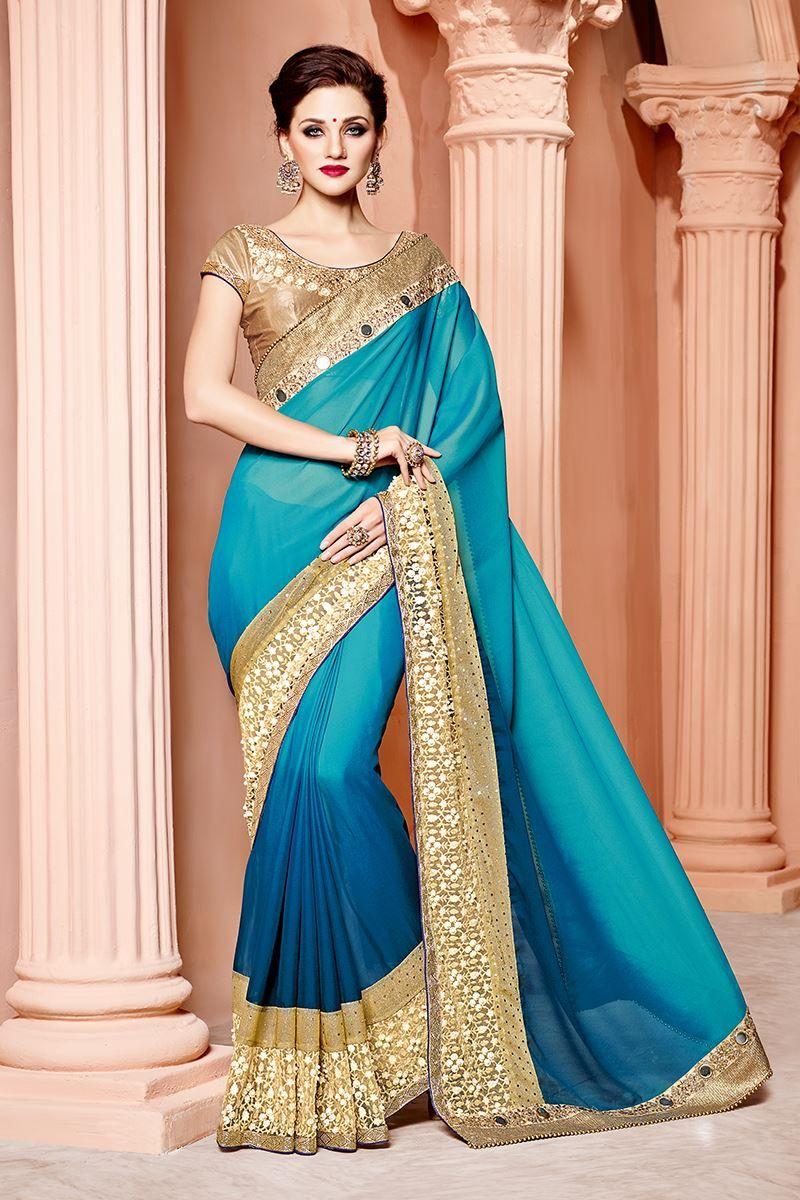 Glorious blue designer saree with zari   Saree, White beige and Dark ...