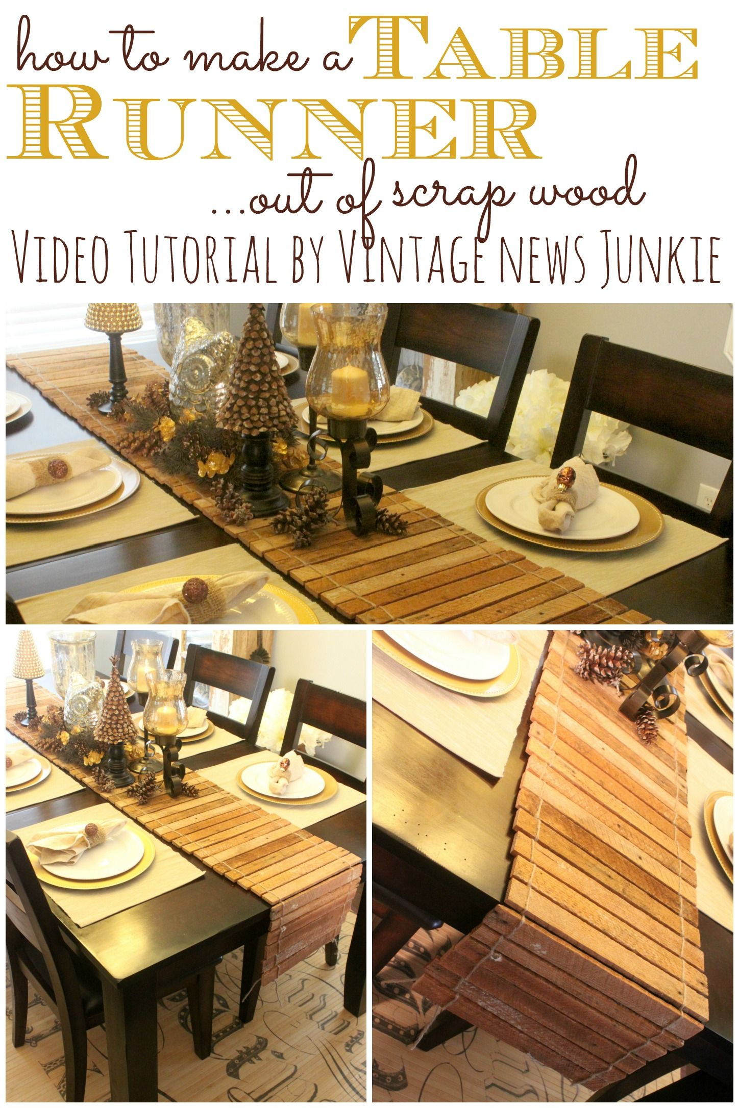 How to Make a Table Runner out of Scrap Wood {Tutorial by Vintage News Junkie}
