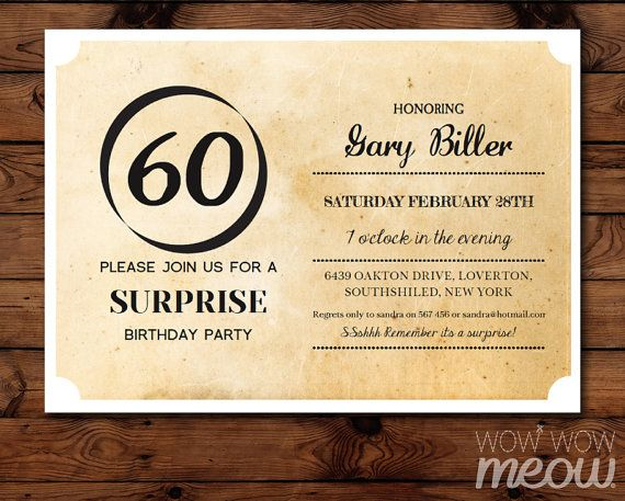 Cardstock Free Printable 60th Birthday Party Invitations Handmade