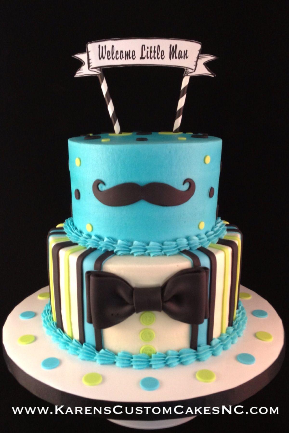 """Little Man themed baby shower cake 8"""" 6"""" buttercream cake w"""