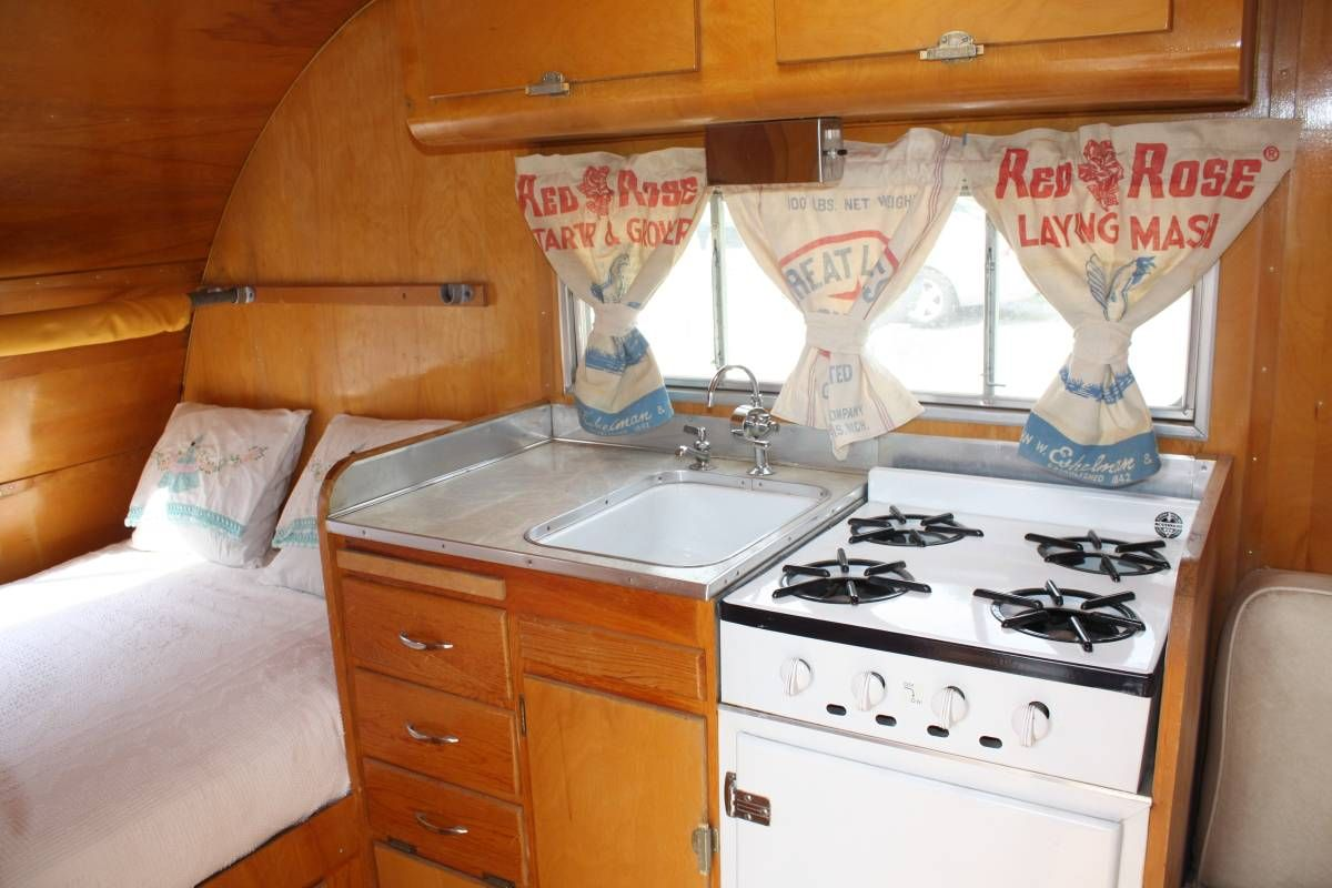 Vintage Feed Sack Curtains In A 55 Bellwood Camper Small InteriorVintage