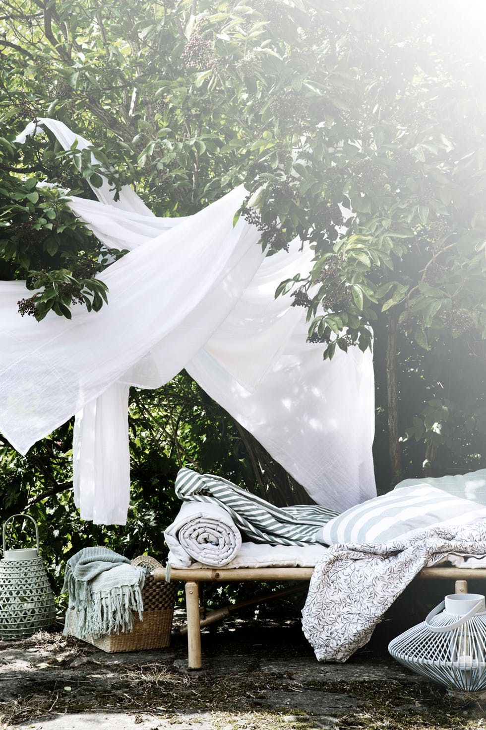 Dreamy soft textiles for a summer garden.
