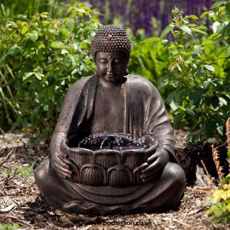 Buddha water fountain zen garden pinterest water for Outdoor buddha