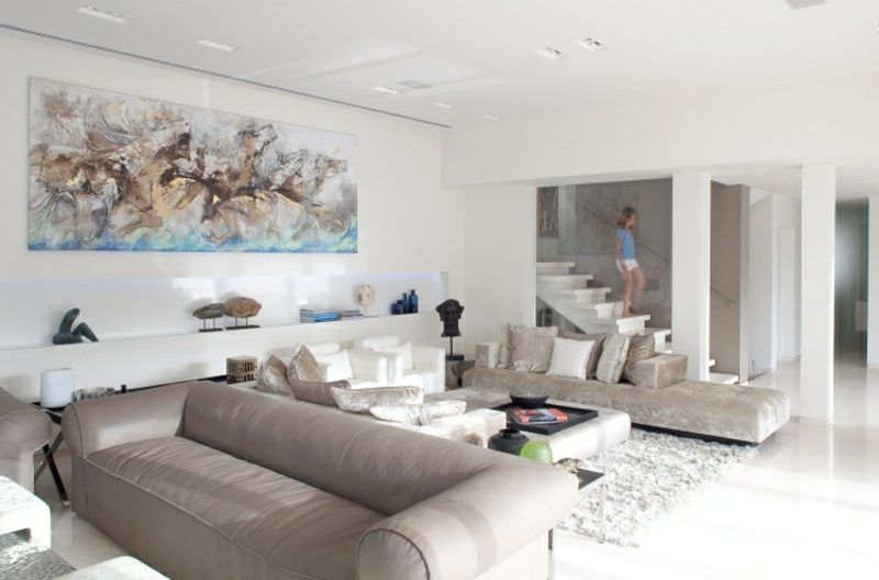White living room modern picture interiors in