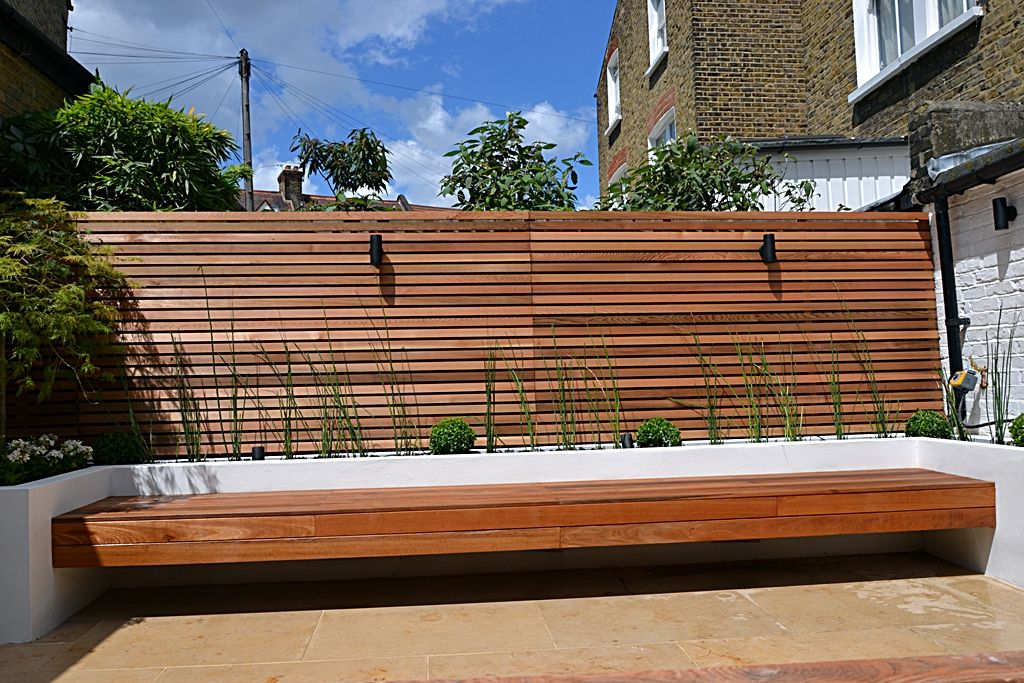 Hardwood Screen Trellis Raised Beds And Floating Bench