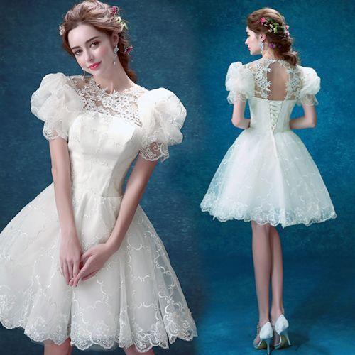 Cute Off White Lace Bell Sleeve Short Wedding Bridal Tutu Dresses SKU-166058