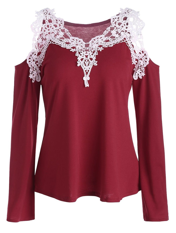 a69659fa9ccadb Cold Shoulder Color Block Lace Splicing T-Shirt - RED XL