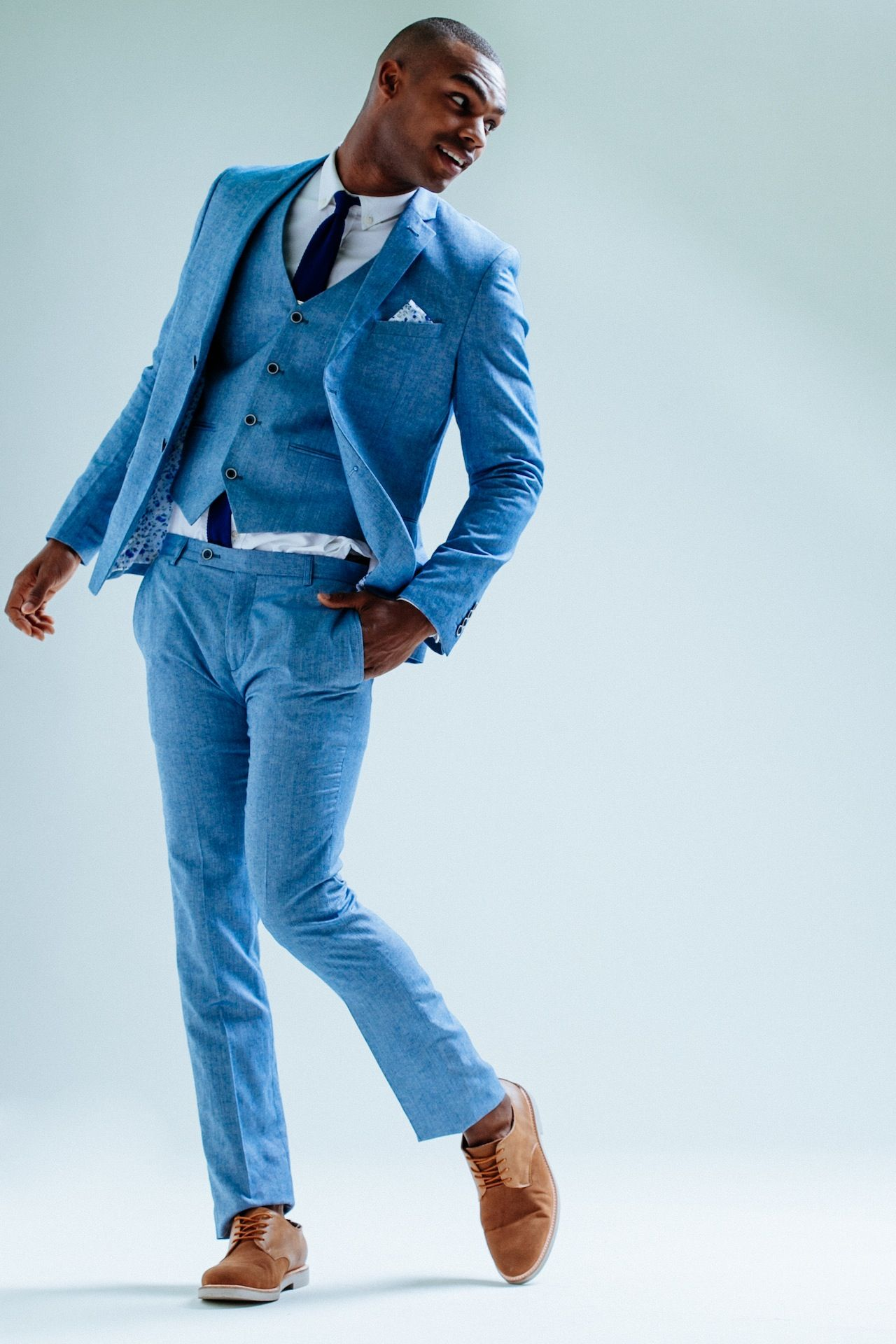 Love the modern take of this blue linen suit -- men\'s suit, menswear ...