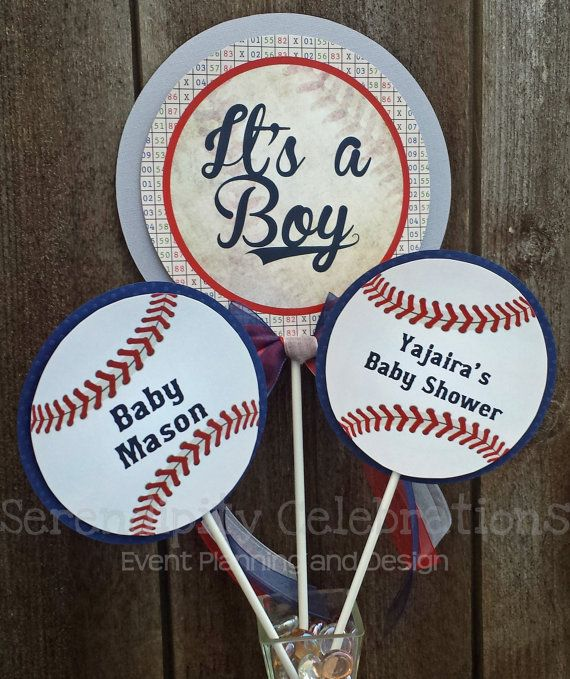 Personalized 3 Piece Centerpiece Vintage Baseball Birthday Baby