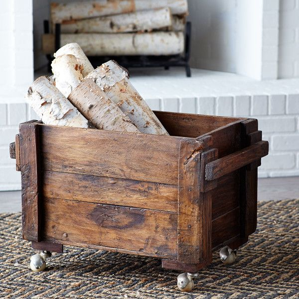 Dimensions 23 5 W X 14 25 D X 16 H Casters Allow For Easy Mobility Adds A Rustic Touch Doubles Wood Storage Box Indoor Firewood Rack Firewood Storage Indoor