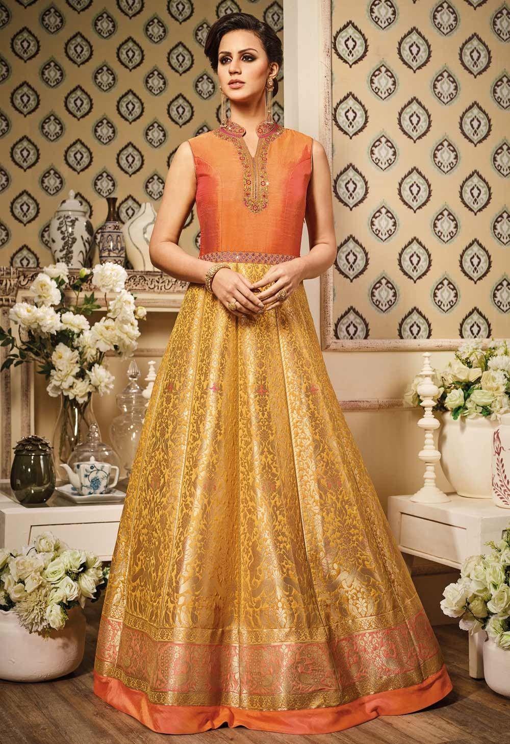 fa6f24fc6f Gold color indowestern style banarasi silk printed anarkali suit E17037