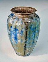 Handmade Beige, Blue, Brown Crystalline 5.5 in. Vas