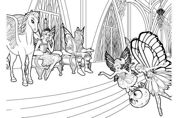 Barbie Mariposa In Front Of Flutterfield King And Queen Coloring Pages