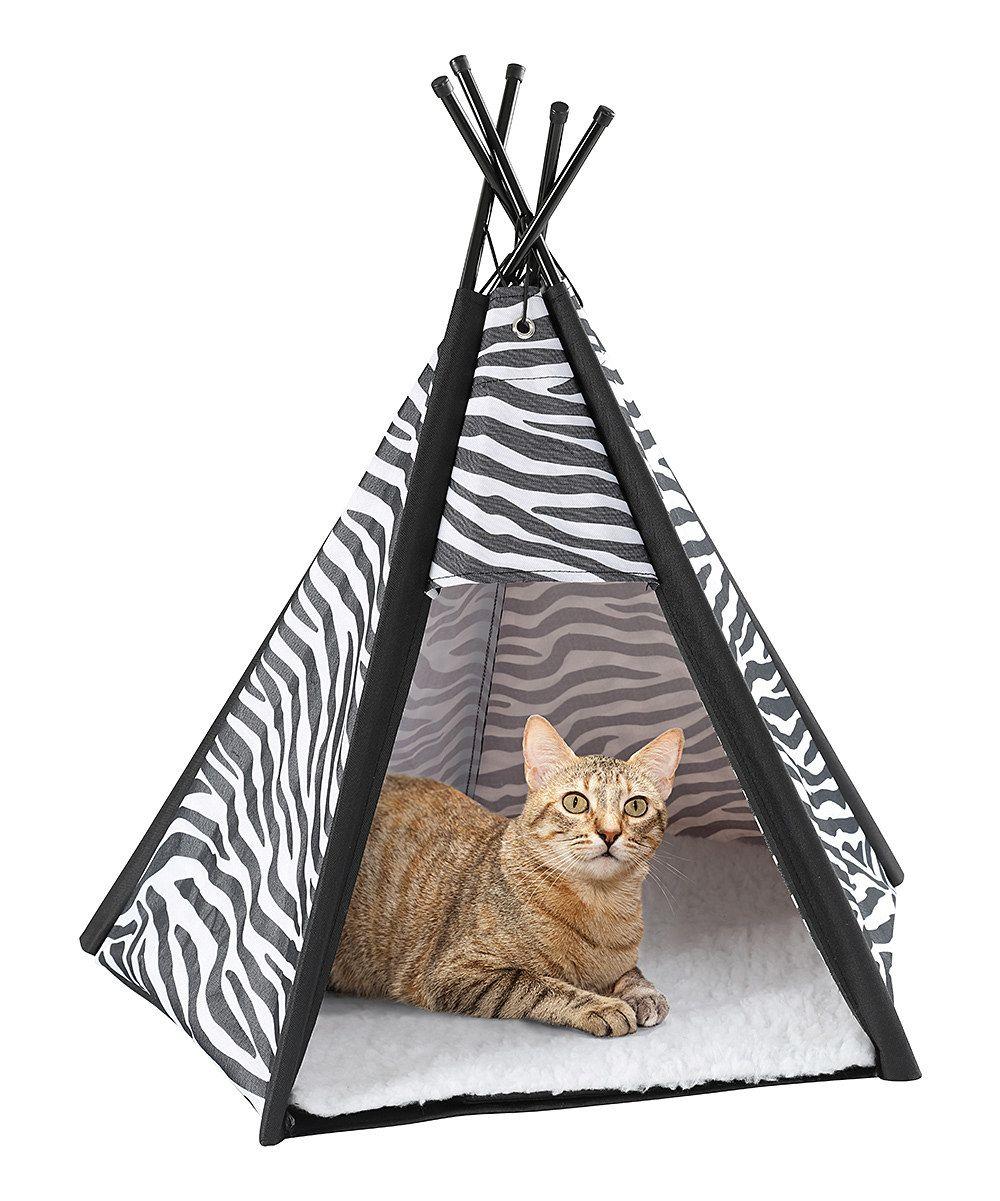 Zebra Print Pet TeePee & Fleece Pad Cat teepee, Teepee