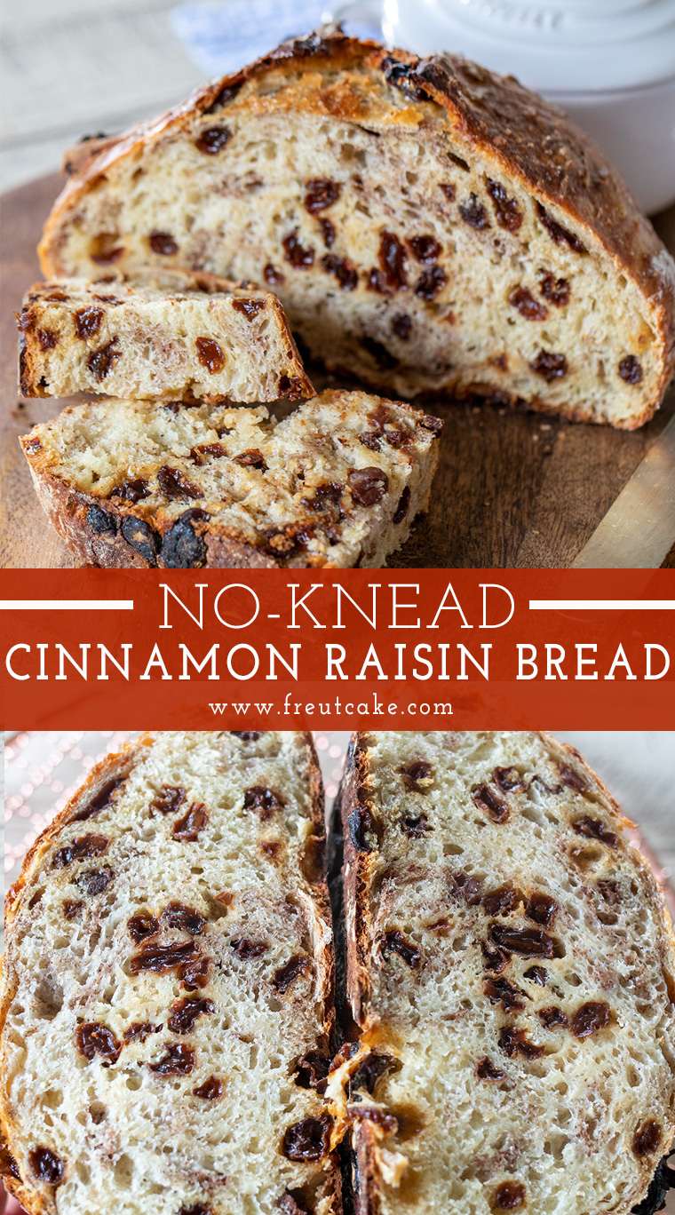 No Knead Cinnamon Raisin Bread Make A Delicious Breakfast Smeared With Butter Or Cream Cheese Easy In 2020 Cinnamon Raisin Bread Raisin Bread Bread Recipes Homemade