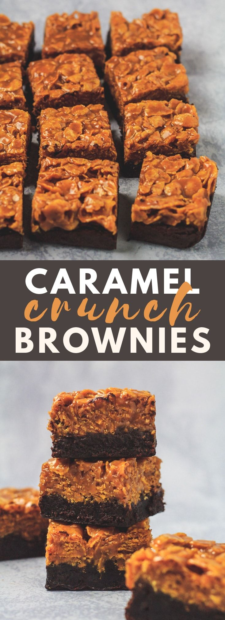 Caramel Crunch Brownies - Deliciously thick and fudgy brownies that are topped with a generous laye