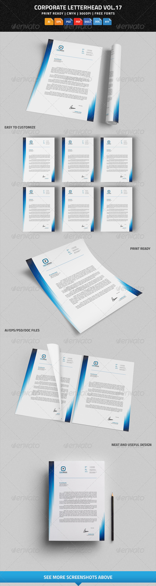 Free Microsoft Word Letterhead Templates Endearing Corporate Letterhead Vol.17 With Ms Word Docdocx  Pinterest  Word .