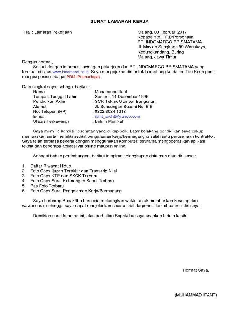 25 Pt Indomarco Prismatama Contoh Surat Lamaran Kerja Indomaret 2020 Tulis Tangan Di 2021 Kerja Surat Tulisan