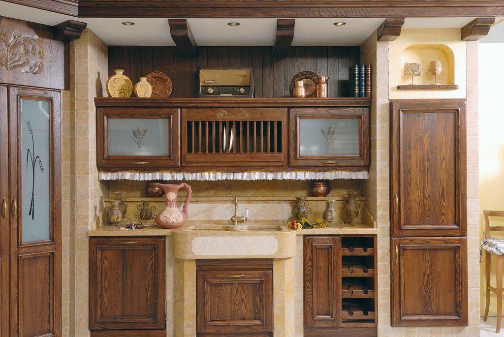 Cucina in muratura artigianale su misura in legno massello di ...