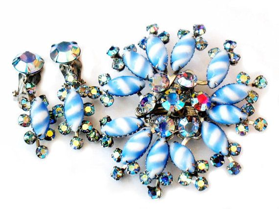 JUDY LEE Set Blue Art Glass Brooch Earrings High Fashion 1950s Collectable Jewelry by JewelryQuestDesign, $56.99