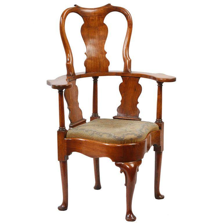 English Walnut Queen Anne High backed Corner Chair c. 1710-20 - English Walnut Queen Anne High Backed Corner Chair C. 1710-20