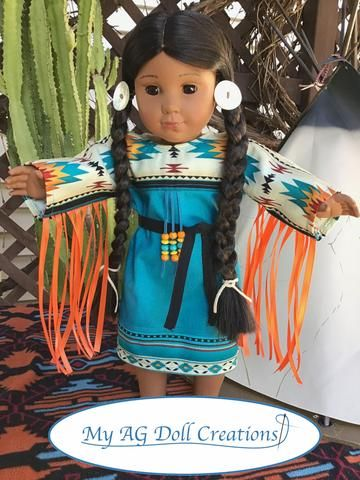 PDF doll clothes sewing pattern Native American Indian Powwow Dress designed to fit 18 inch American Girl Dolls #americandolls