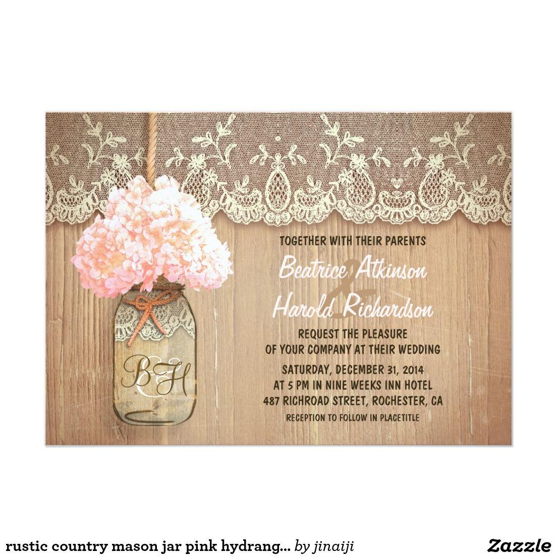 Rustic country mason jar pink hydrangea wedding mason jar wedding