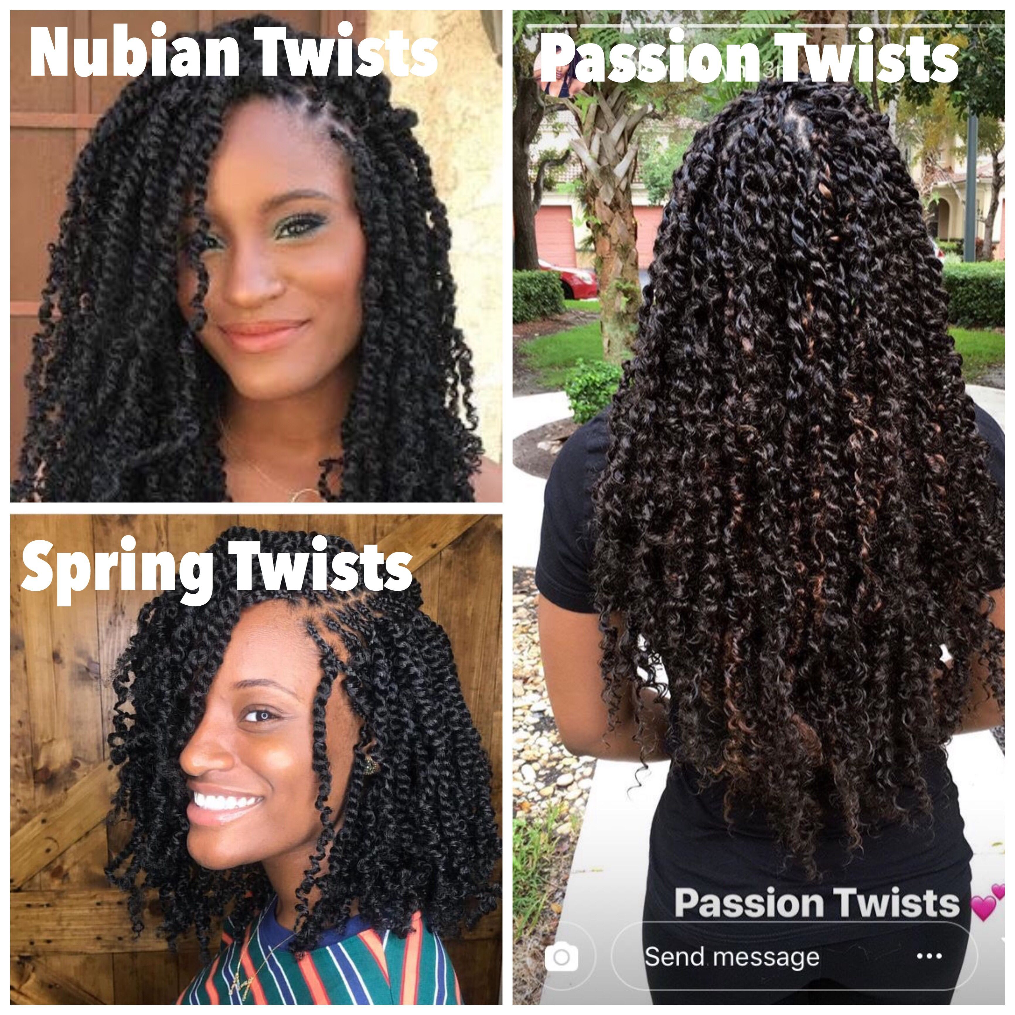 Passion Twists vs Spring Twists follow @shugabraids on IG #passiontwistshairstyle Passion Twists vs