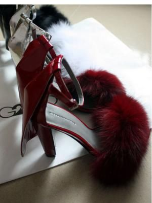 6d22d2bd839 Fox Fur Thick Heel Shoes www.choies.com