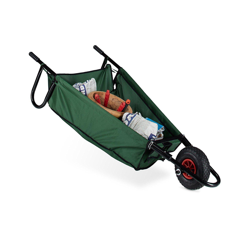 Relaxdays Folding Wheelbarrow Large 90 L Up To 30 Kg Steel Polyester Size 30 X 66 X 160 Cm Folding Garden Cart Hangabl Wheelbarrow Foldables