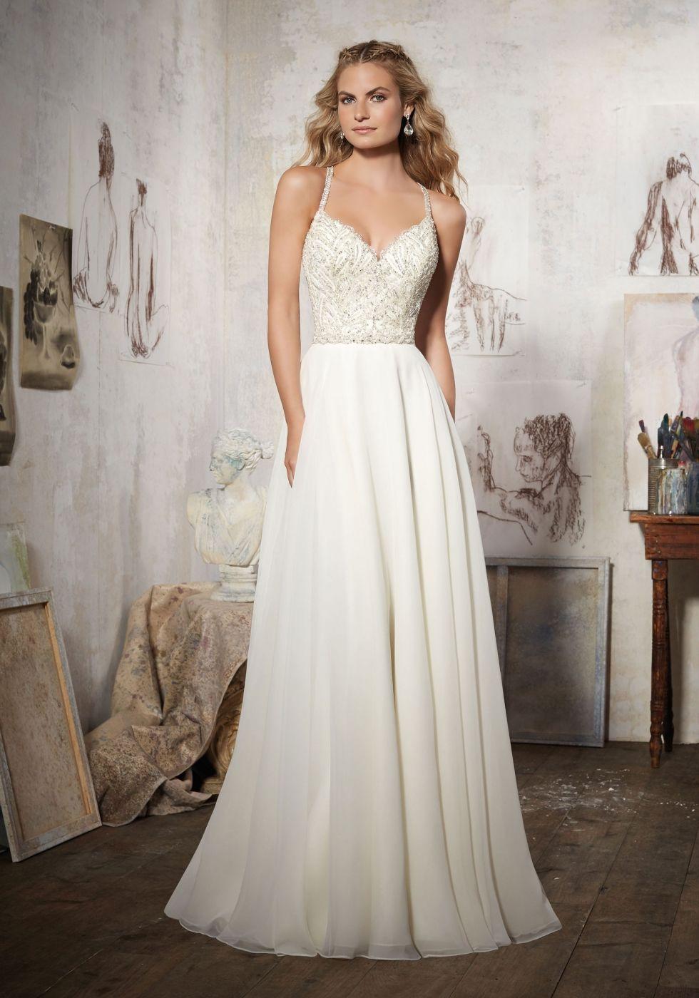 beaded chiffon wedding dress. morilee wedding dress. Aline wedding ...