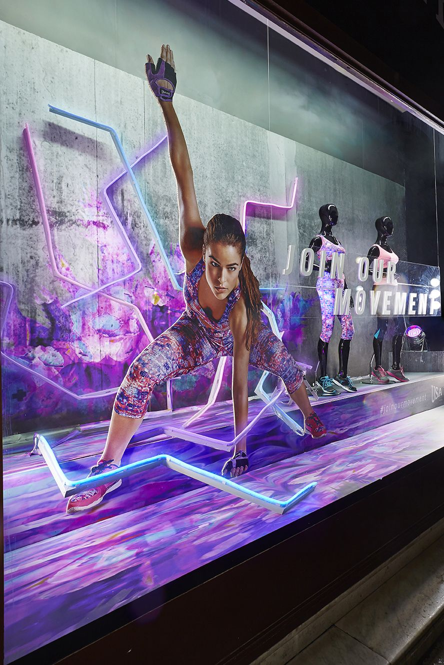 Sports direct neon window display Window display design