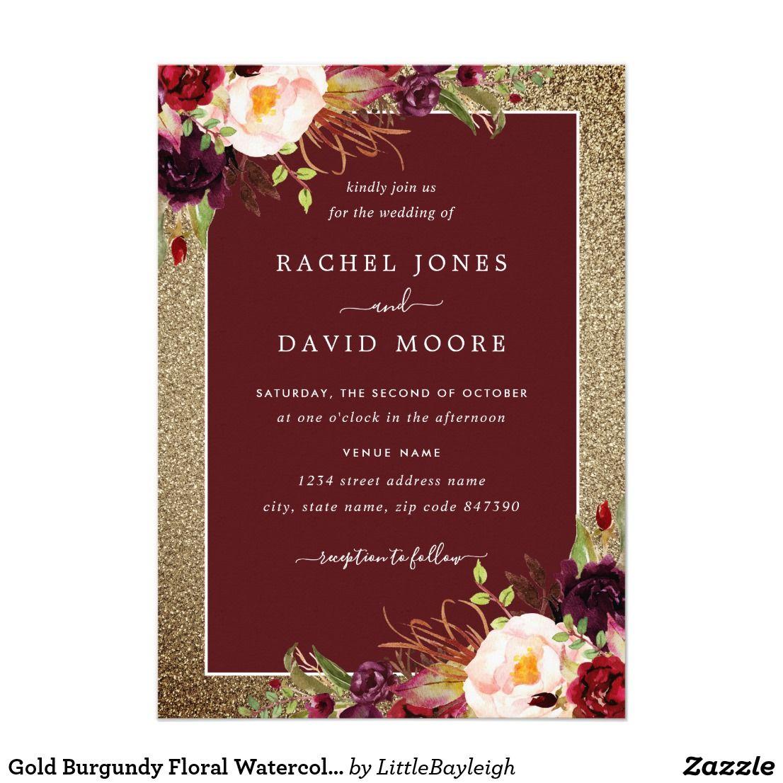 Gold Burgundy Floral Watercolor Wedding Invite | Wedding | Pinterest ...