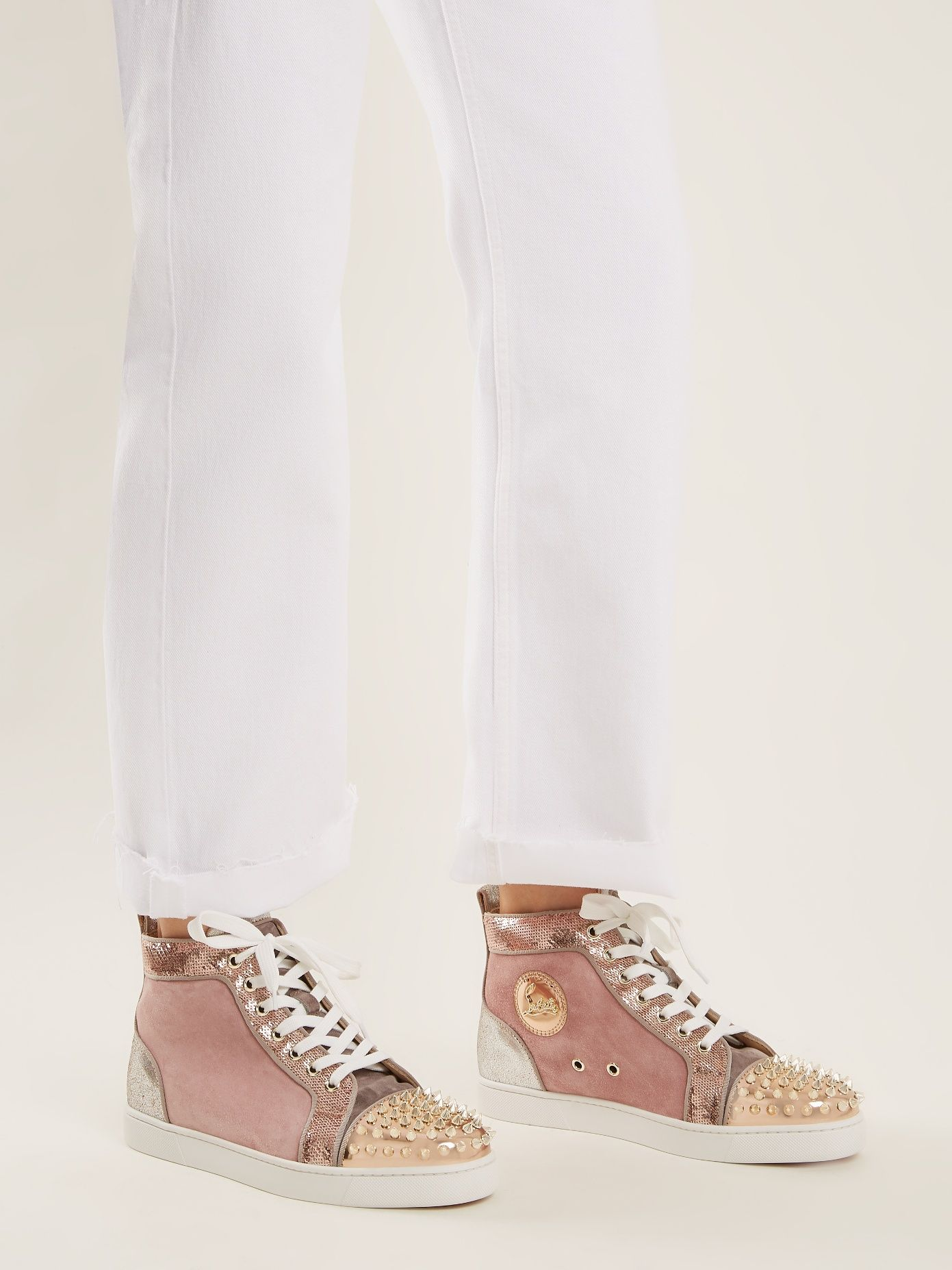 sale retailer fa1ac c4070 Lou stud-embellished suede high-top trainers by Christian ...