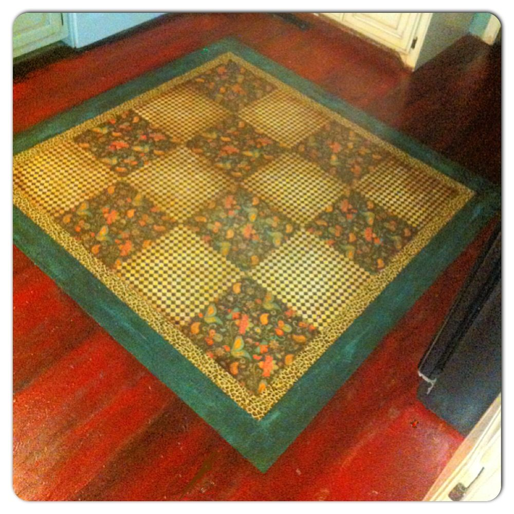 Decoupage Sbook Paper Rug Le Glaze Over Antiqued With Stain