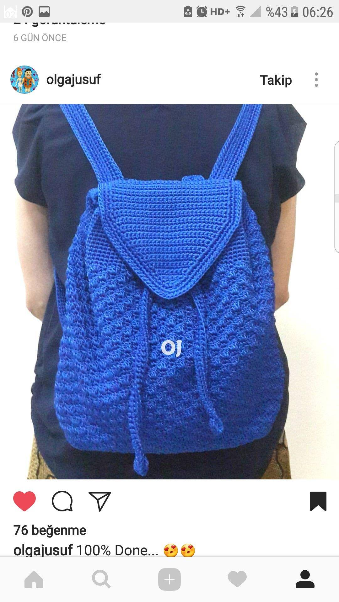 Crochet backpack | Denenecek projeler | Pinterest | Einkaufsnetz ...