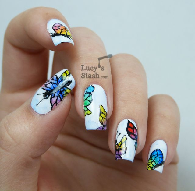 Lucy S Stash Watercolour Aquarelle Butterflies Nail Art