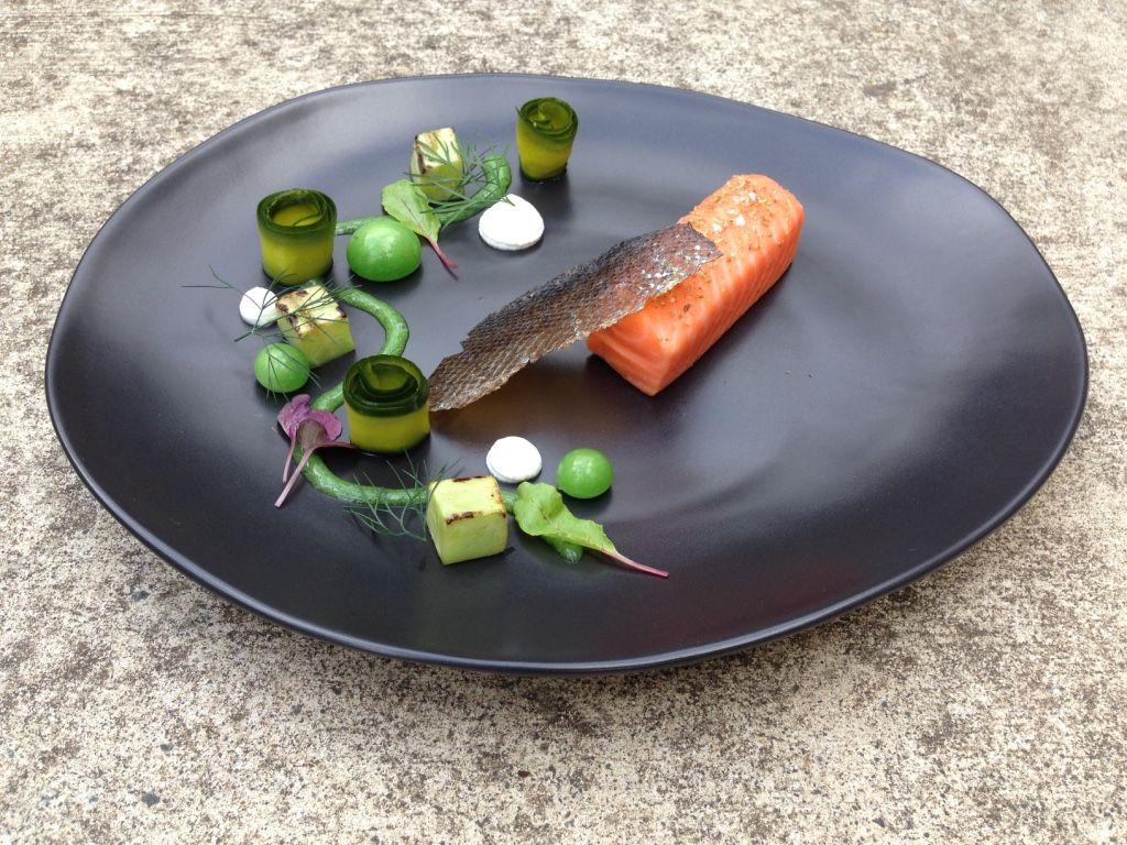 salmon mi cuit, textures of cucumber | fancy food | pinterest